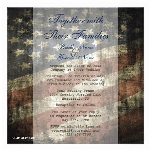 American Flag Wedding Invitations Patriotic Us Flag Wedding Invitation and Rsvp