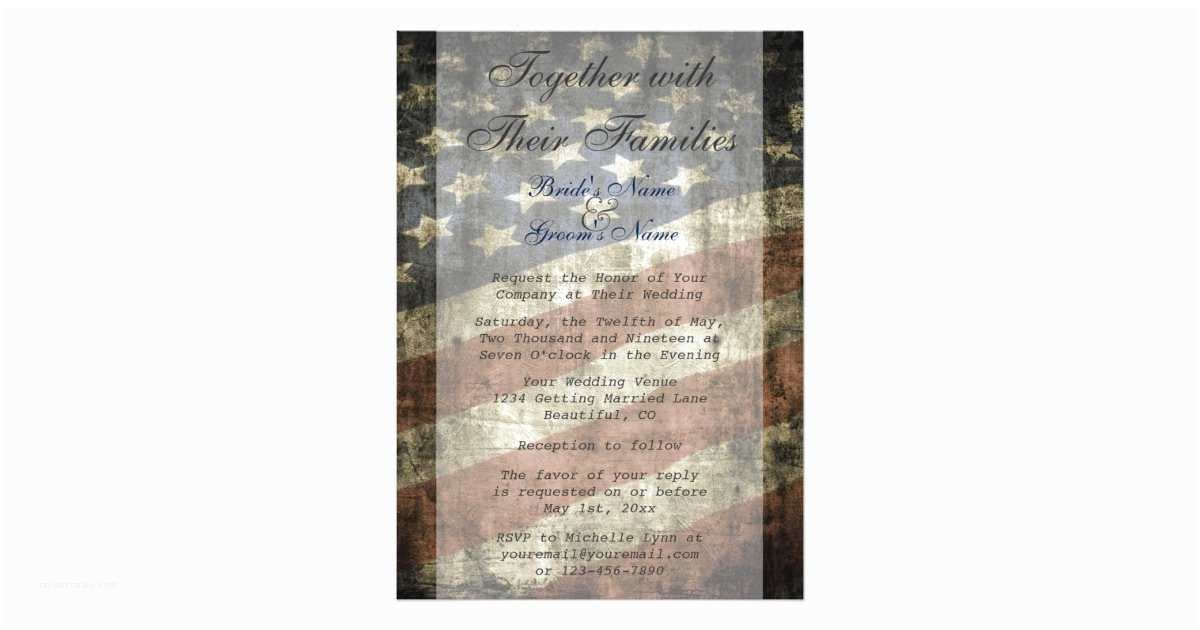 American Flag Wedding Invitations Patriotic Us Flag Wedding Invitation and Rsvp