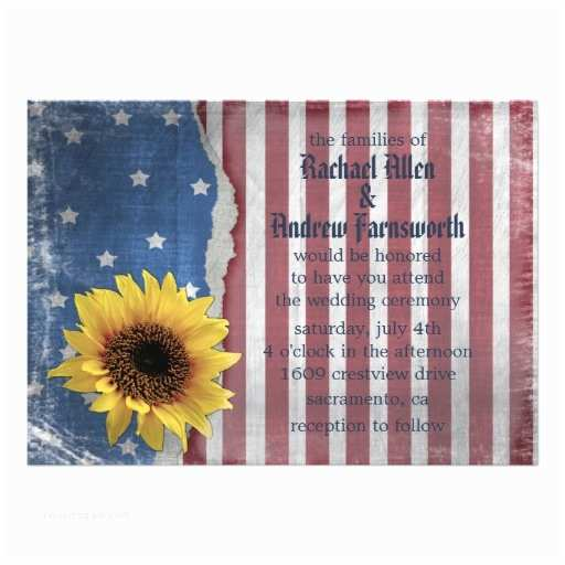 American Flag Wedding Invitations Personalized American Flag Invitations