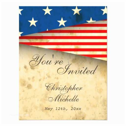 American Flag Wedding Invitations Vintage American Flag Patriotic Usa Wedding Card