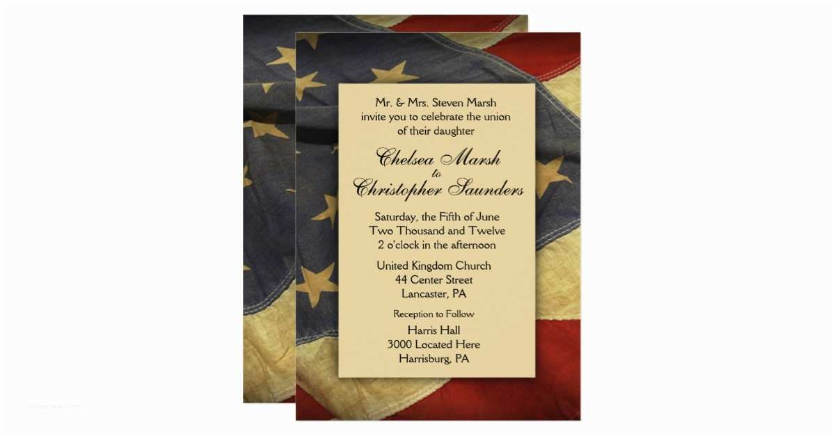 American Flag Wedding Invitations Vintage Usa Flag Wedding Invitation