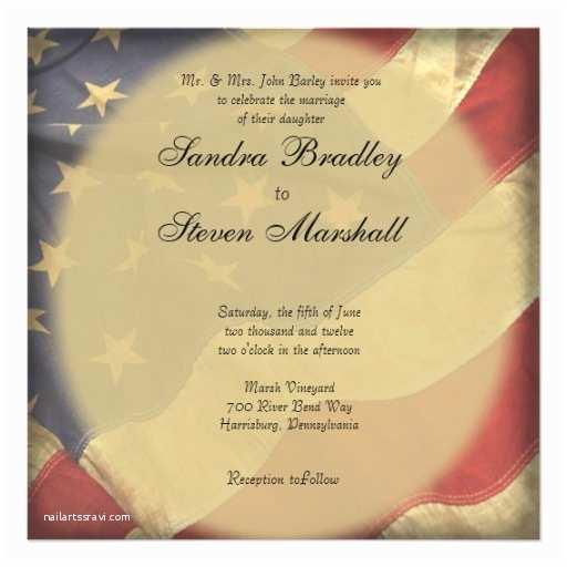 American Stationery Wedding Invitations American Flag Wedding Invitations