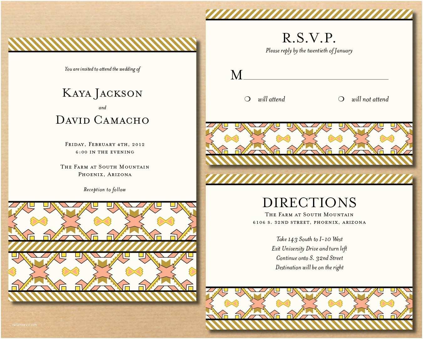 American Stationery Wedding Invitations River & Bridge Native American Influenced Wedding Invitations
