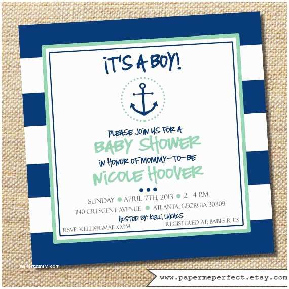 Anchor Baby Shower Invitations Anchor Baby Shower Invitation It S A Boy Navy and Mint