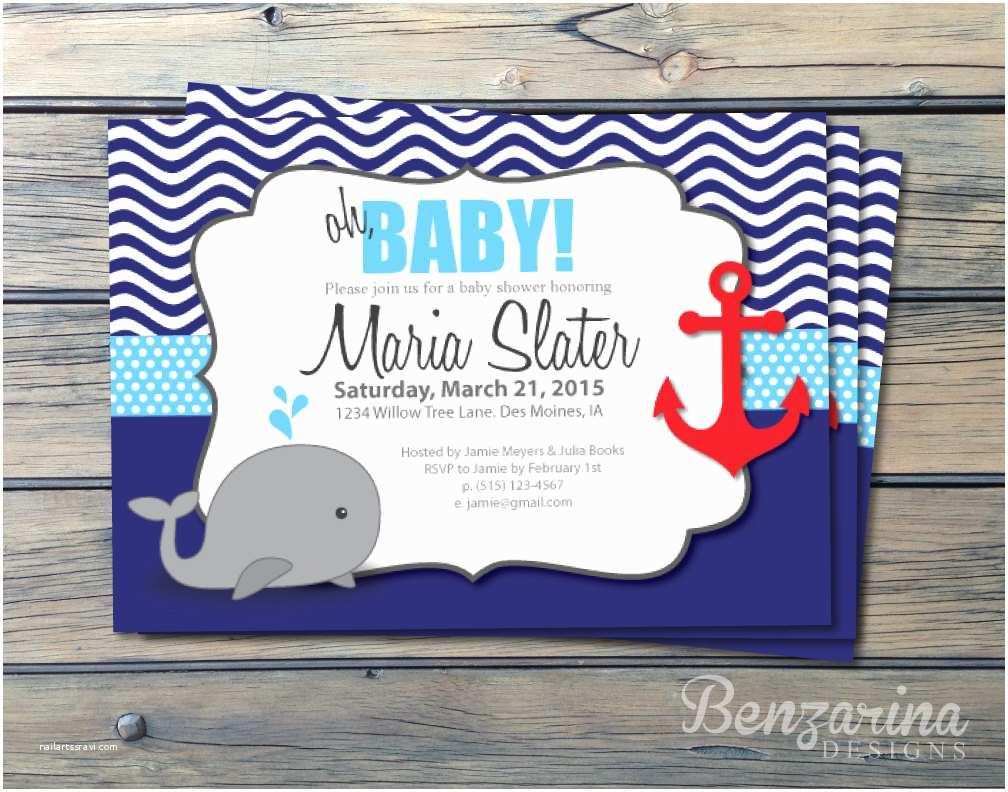 baby shower invitation nautical whales