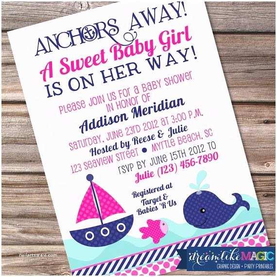Anchor Baby Shower Invitations Girl Nautical Whale Baby Shower Invitation Whale Baby
