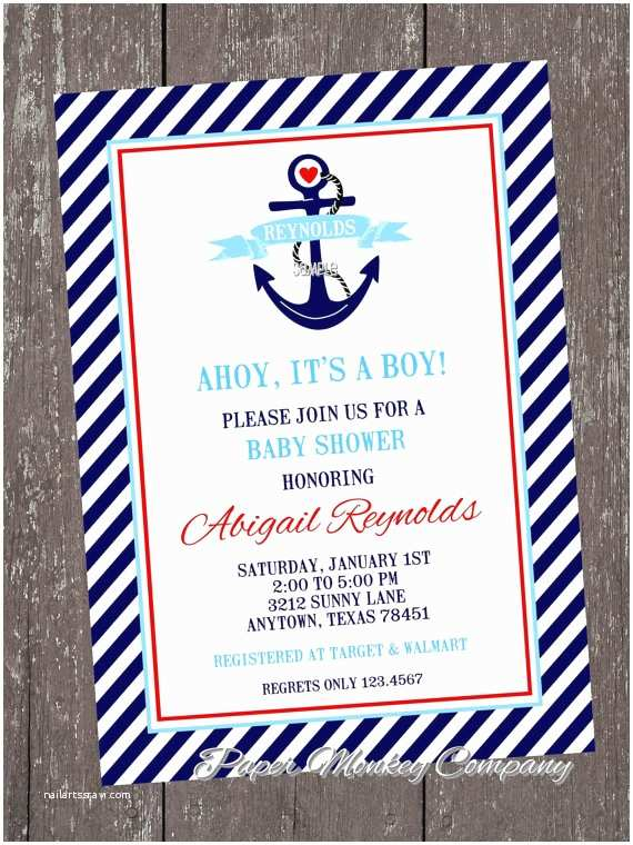 Anchor Baby Shower Invitations Nautical Anchor Baby Shower Invitations by Pmcinvitations