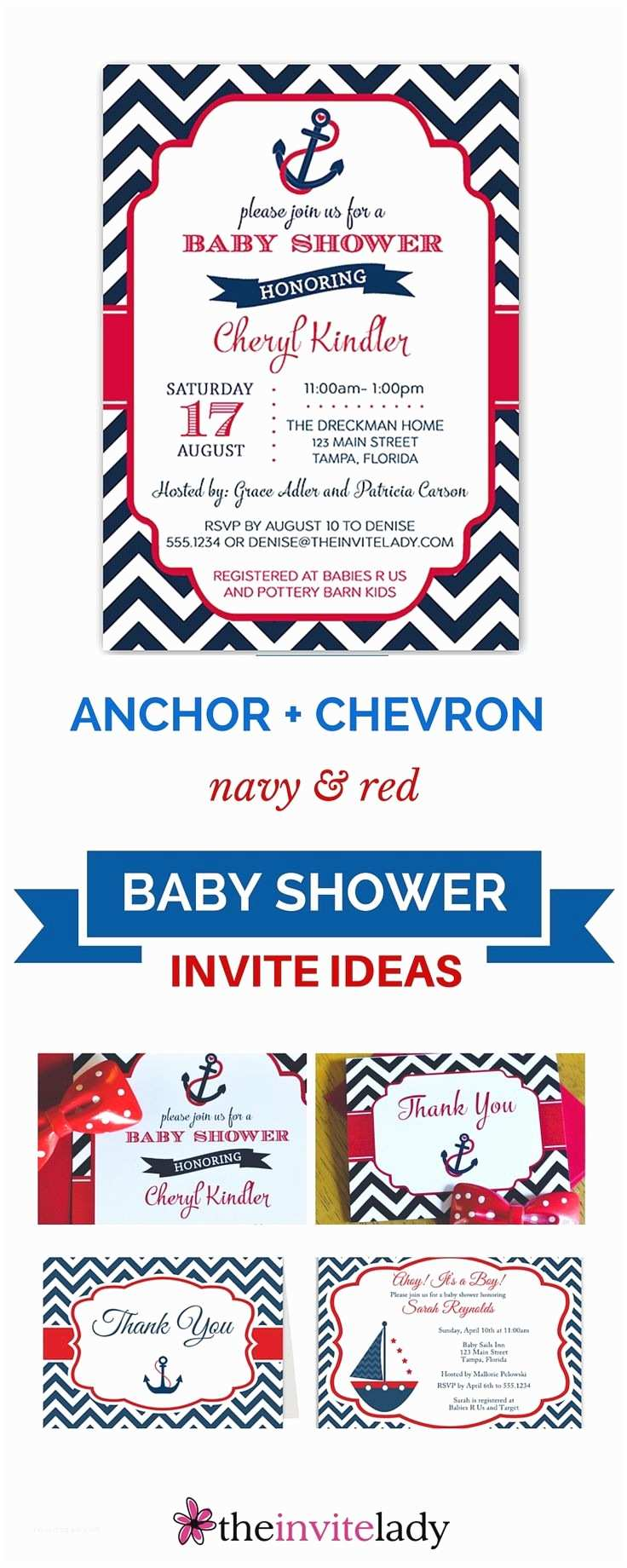 Anchor Baby Shower Invitations Red Polka Dot Pattern and Blue Anchor for Nautical theme