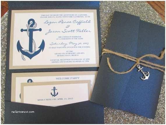 Anchor Wedding Invitations Nautical theme Destination Wedding Invitation Anchor