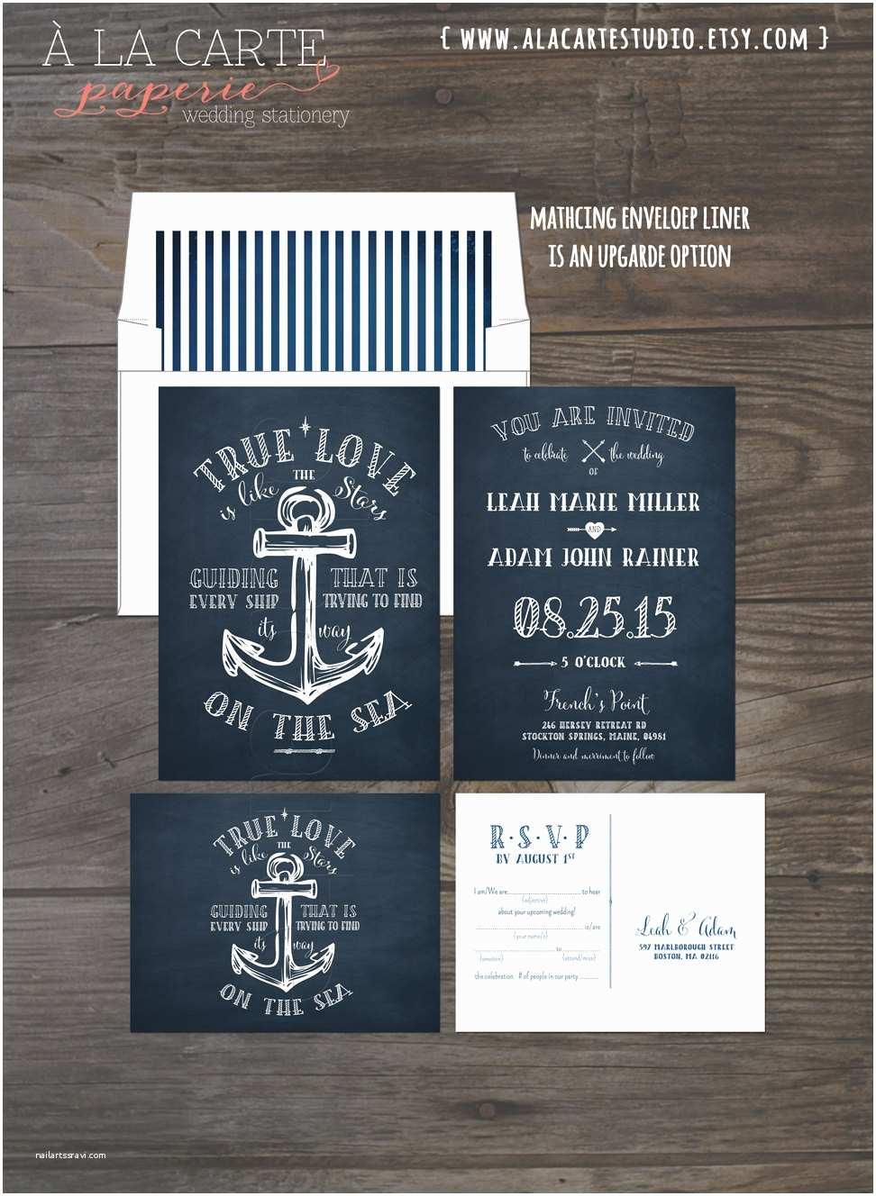 Anchor Wedding Invitations True Love Nautical Anchor Wedding Invitation and Rsvp Card