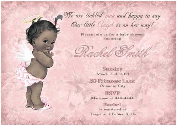 Angel Baby Shower Invitations African Americans Africans And Vintage Pink On