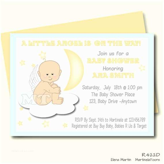 Angel Baby Shower Invitations Angel Baby Shower Invitation Mint Gold Moon And
