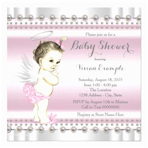 Angel Baby Shower Invitations Angel Baby Shower Pink and Gray Invitation