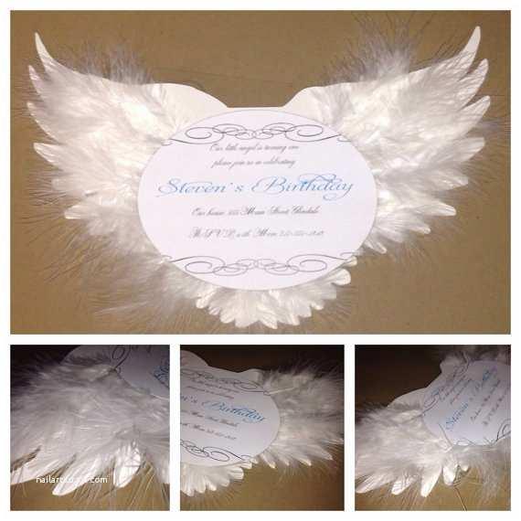 Angel Baby Shower Invitations Angel Birthday Invitation Christening Invitation