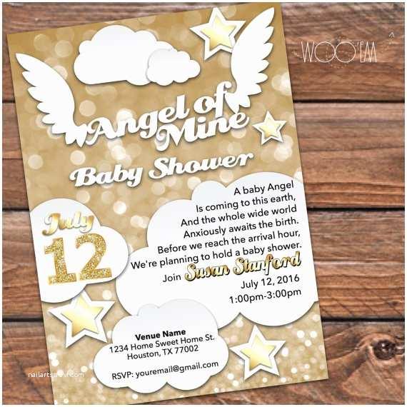 Angel Baby Shower Invitations Angel Of Mine Heaven Sent Baby Shower Invitation By