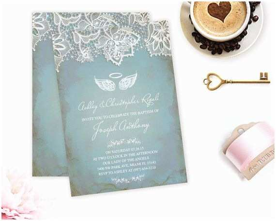 Angel Baby Shower Invitations Angel Wings Invitation Baptism Invitations Baby Shower