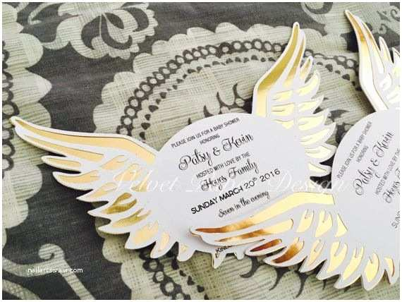 Angel Baby Shower Invitations Angel Wings Invitations Heaven Sent Baby by