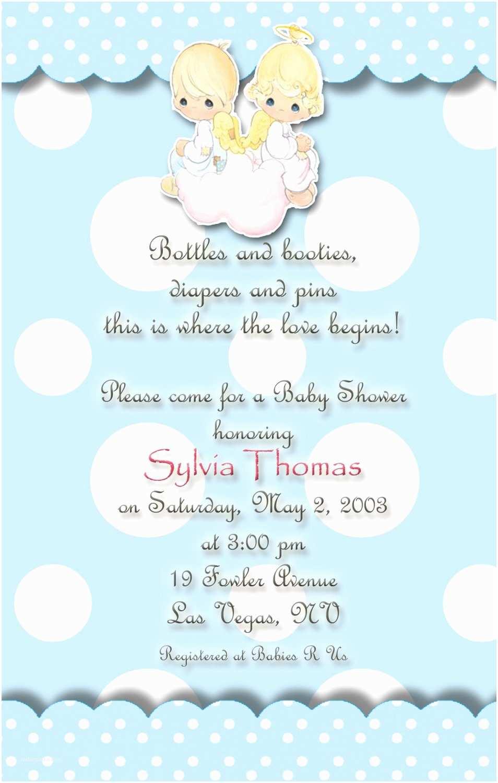 Angel Baby Shower Invitations Angels Precious Moments Baby Shower Invitations Blue and