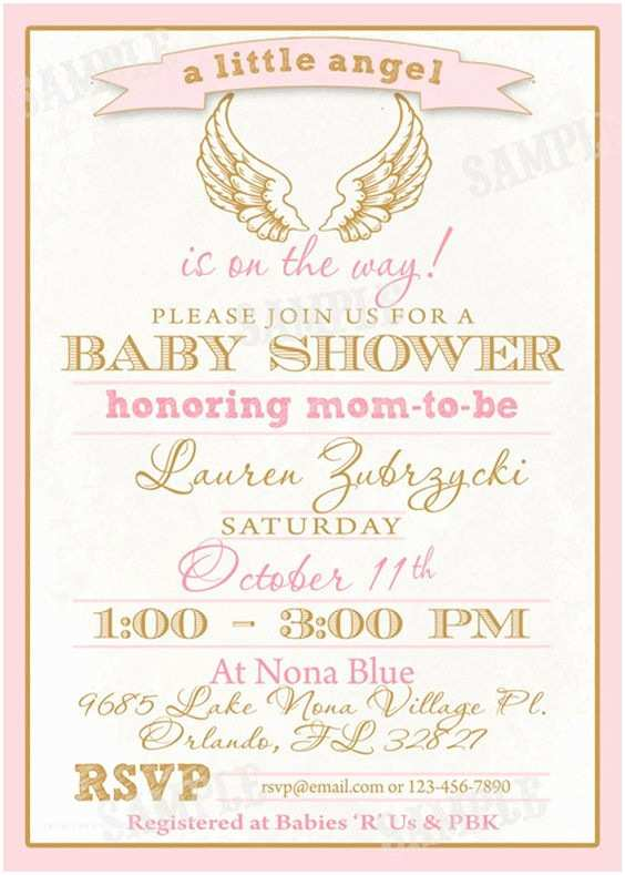 Angel Baby Shower Invitations Babies Wings And Diy And Crafts On