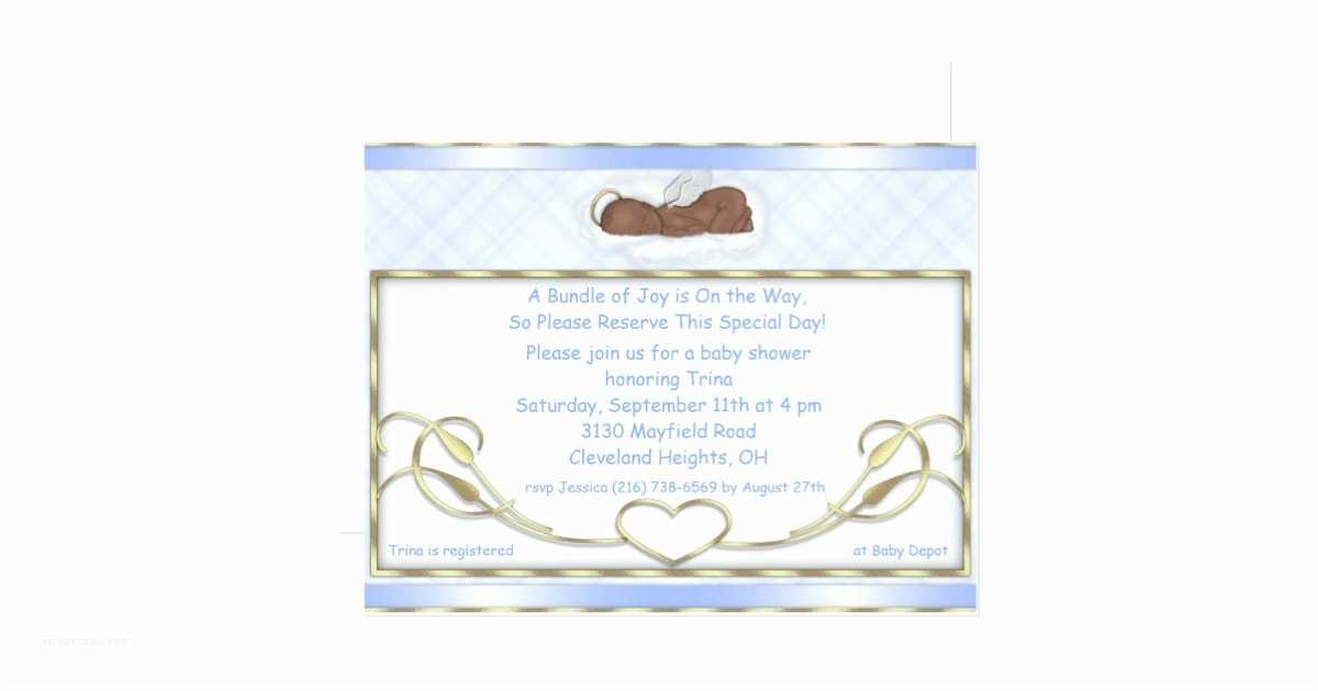 Angel Baby Shower Invitations Blue Sleeping Angel Baby Shower Invitations