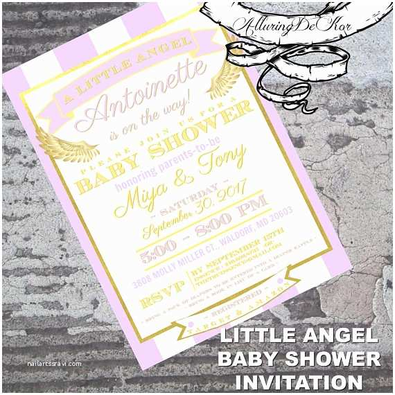 Angel Baby Shower Invitations Little Angel Baby Shower Invitation By Alluring