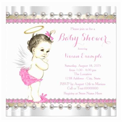 Angel Baby Shower Invitations Pink Angel Baby Girl Shower Invitation