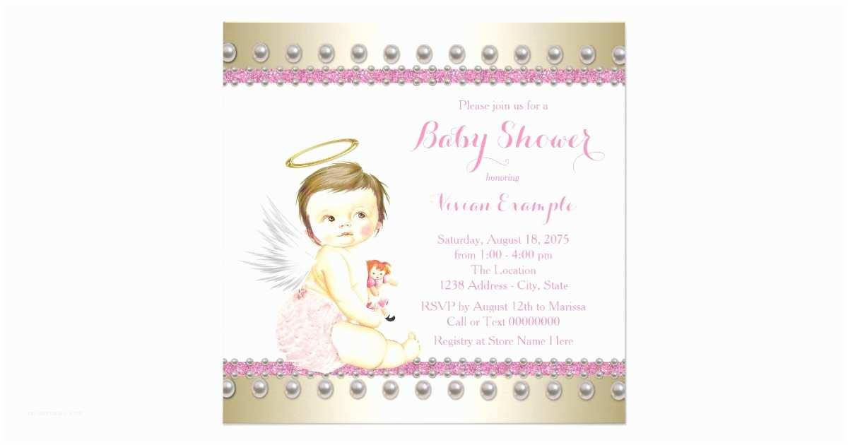 Angel Baby Shower S Pink Gold Angel Baby Shower