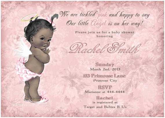 Angel  Shower Invitations Vintage Pink Floral African American Little Angel