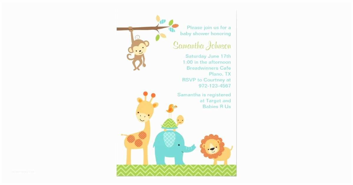 Animal Baby Shower Invitations Cute Jungle Safari Animals Baby Shower Invitation