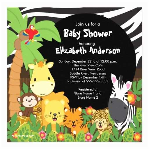 Animal Baby Shower Invitations Cute Safari Jungle Animals Baby Shower Invitations