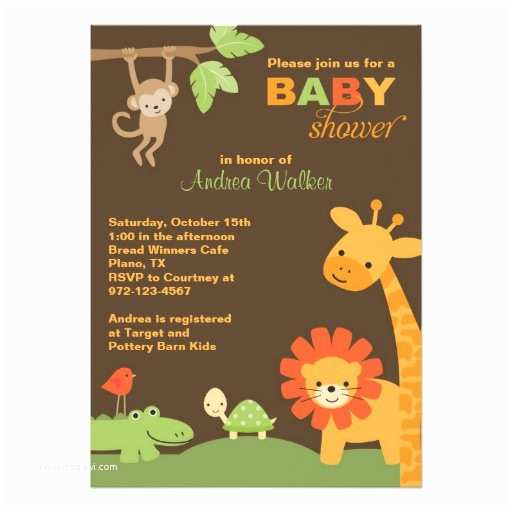 Animal Baby Shower Invitations Jungle Animals Baby Shower Invitation