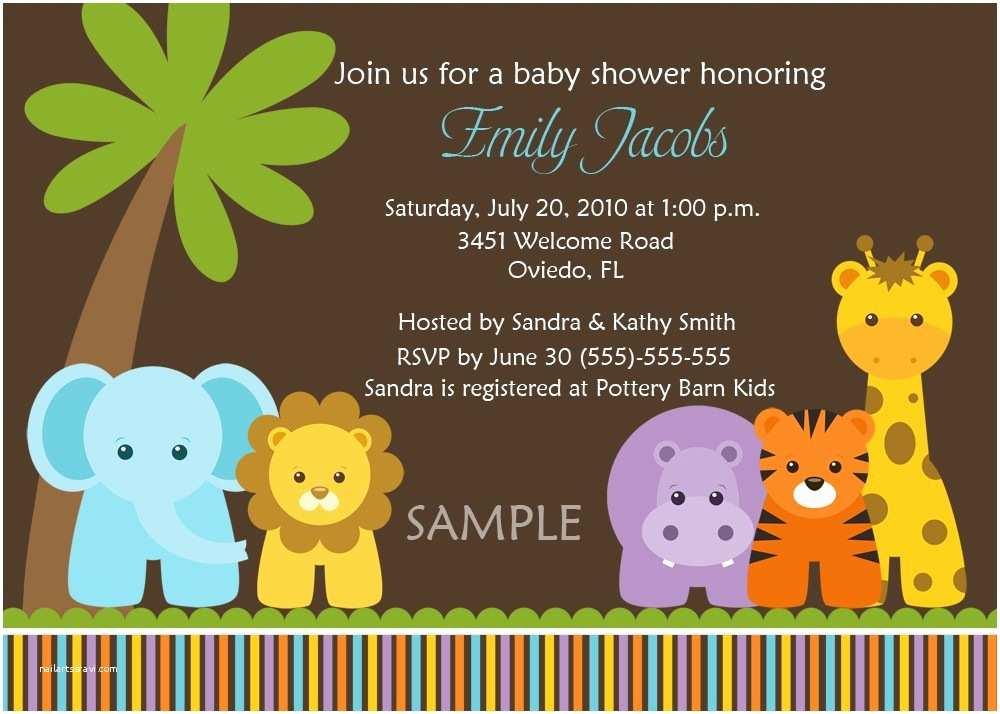 Animal Baby Shower Invitations Jungle Animals Baby Shower Invitations