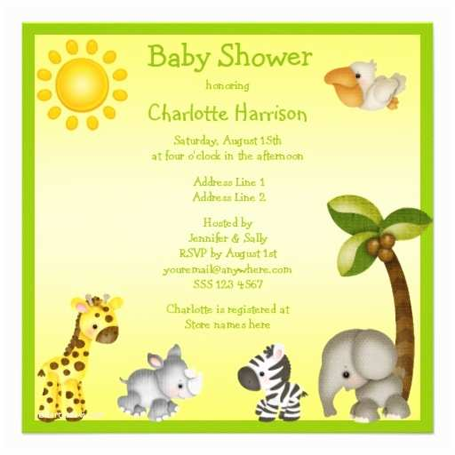 Animal Baby Shower Invitations Personalized Jungle Baby Shower Invitations