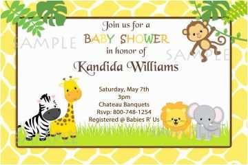 Animal Baby Shower Invitations Safari Jungle Animals Baby Shower