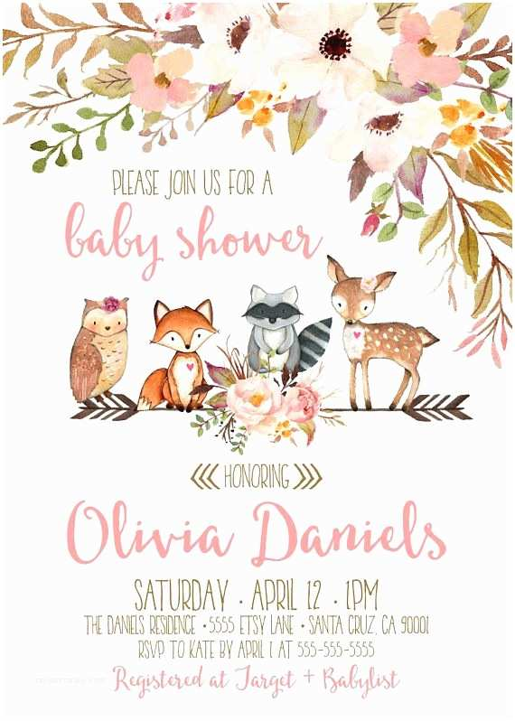 Animal Baby Shower Invitations Woodland Baby Shower Invitations Invitation for Woodland