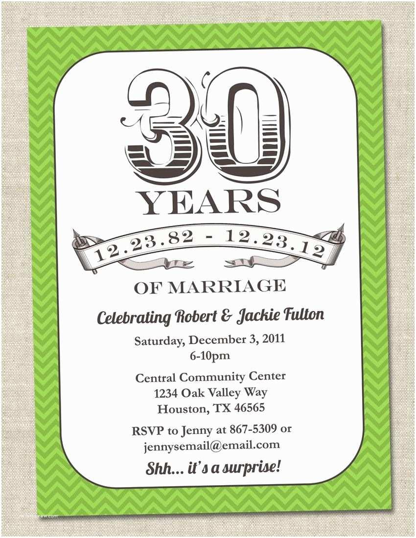 Anniversary Party Invitations 30th Anniversary Invitation Green Emerald