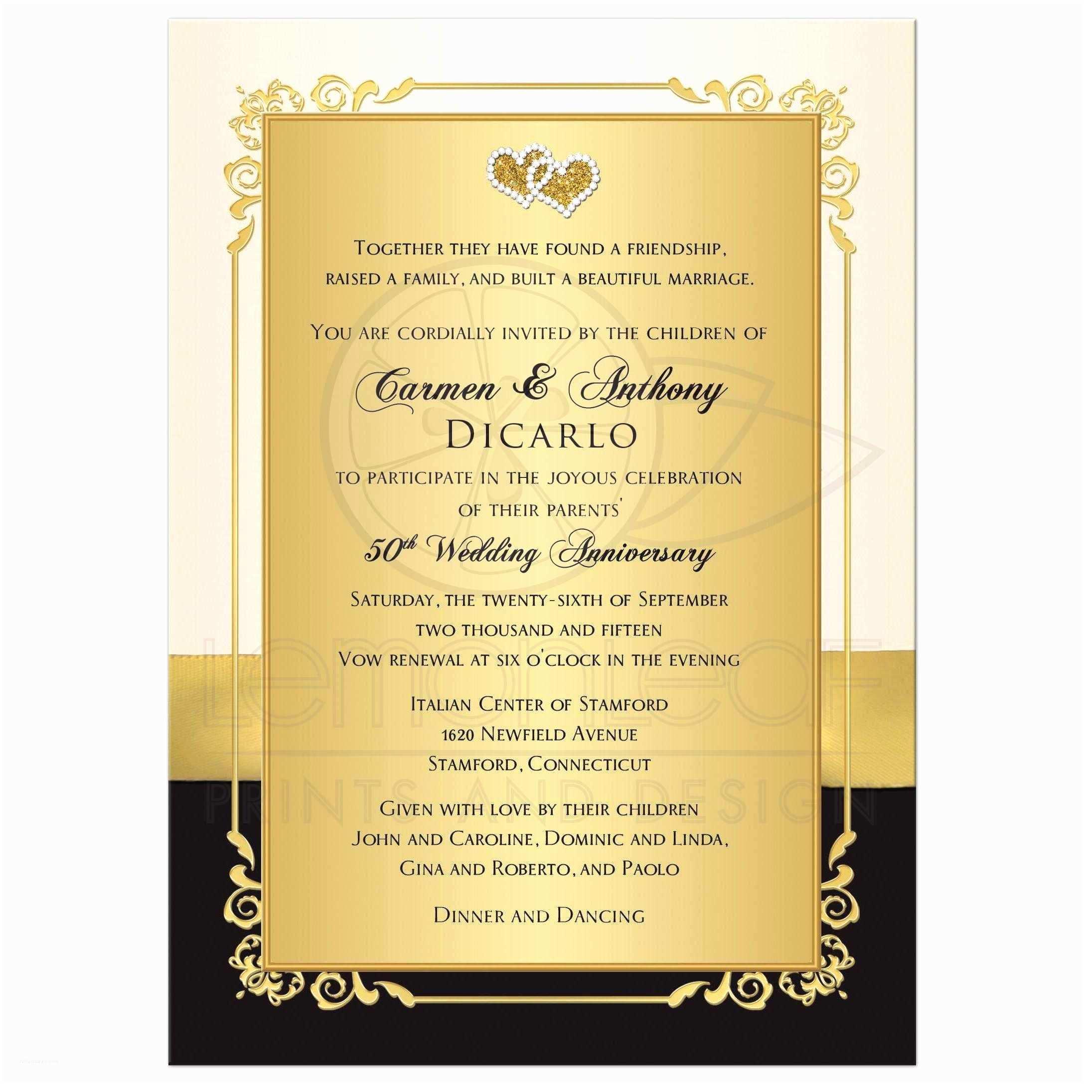 Anniversary Party Invitations Golden  Anniversary Invitation Golden