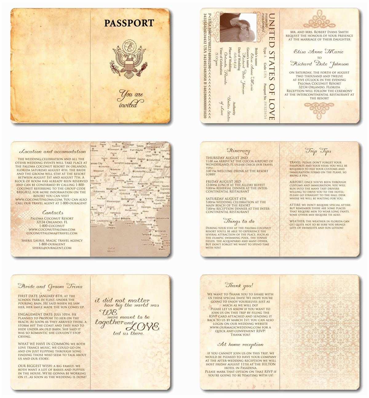 Antique Wedding Invitation Ideas Wedding Invitation Passport Printable Template Vintage