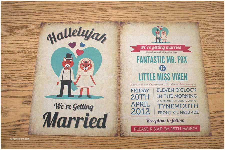 Antique Wedding Invitations Foxes themed Retro Wedding Invitation by Magik Moments