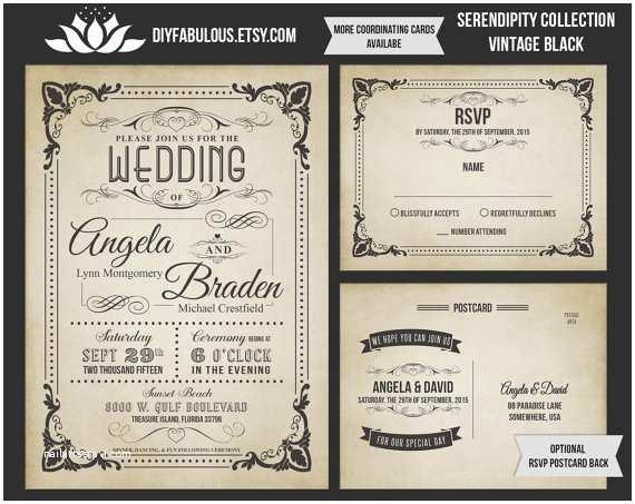 Antique Wedding Invitations New Serendipity Collection Vintage Wedding Invitation