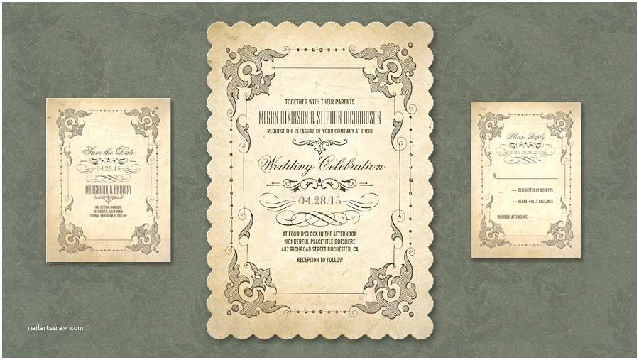 Antique Wedding Invitations Read More – Shabby Chic Vintage Wedding Invitation