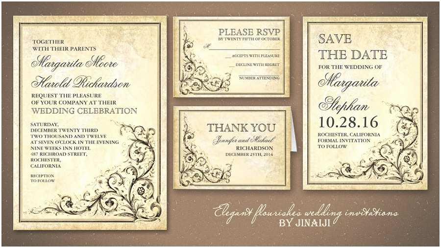 Antique Wedding Invitations Read More – Vintage Flourishes Elegant and Classic Wedding