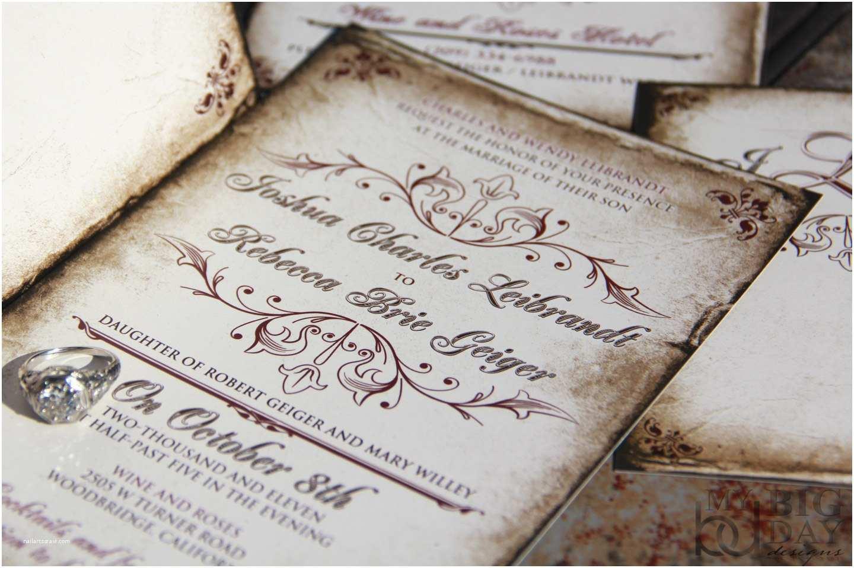Antique Wedding Invitations Vintage Parchment Wedding Invitations Classic Vintage