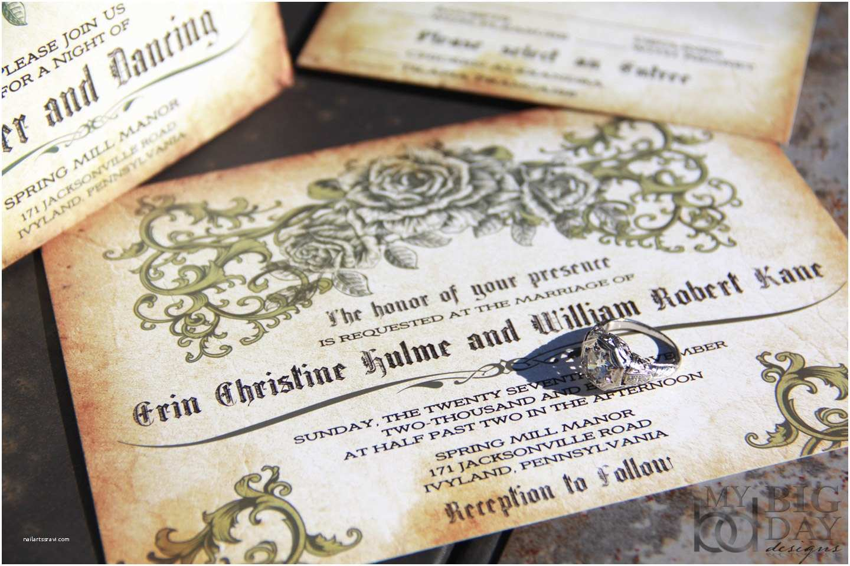 Antique Wedding Invitations Vintage Romantic Rose Wedding Invitations Antique Parchment