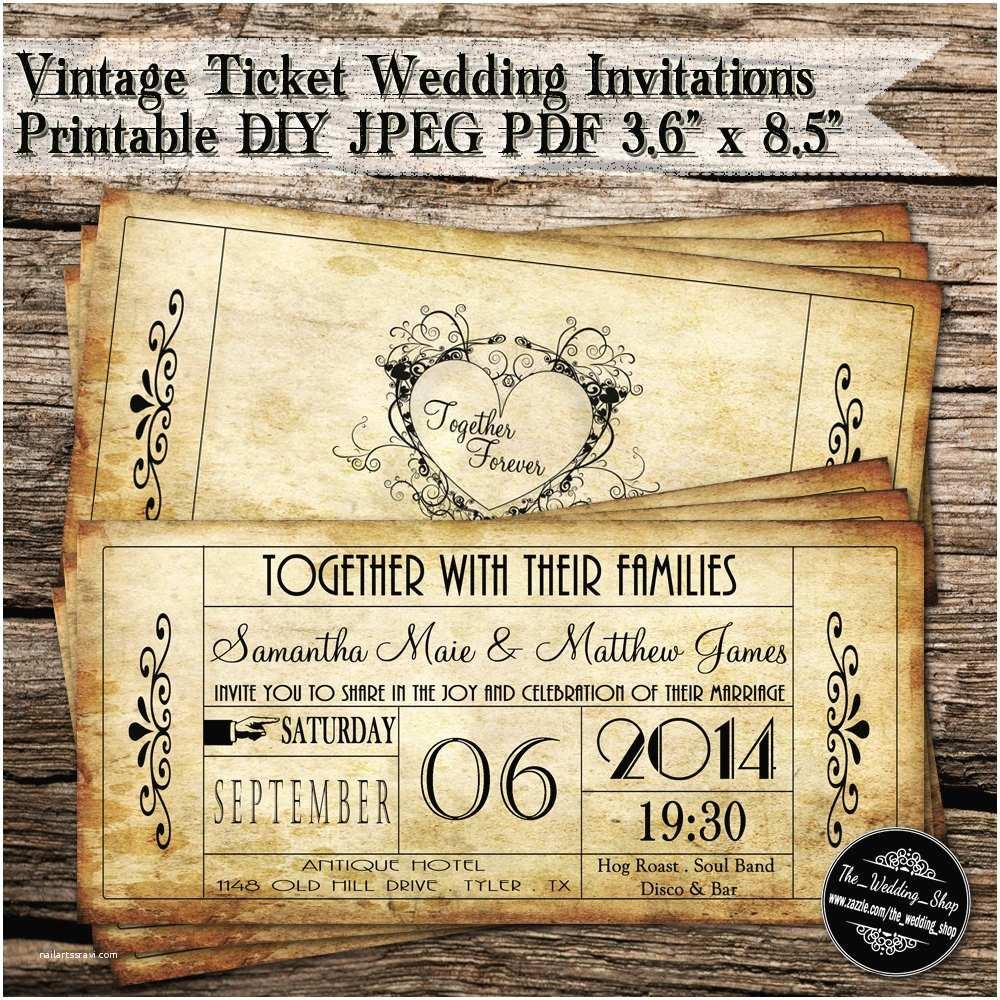 Antique Wedding Invitations Vintage Ticket Wedding Invitations Printable Diy Jpeg Pdf