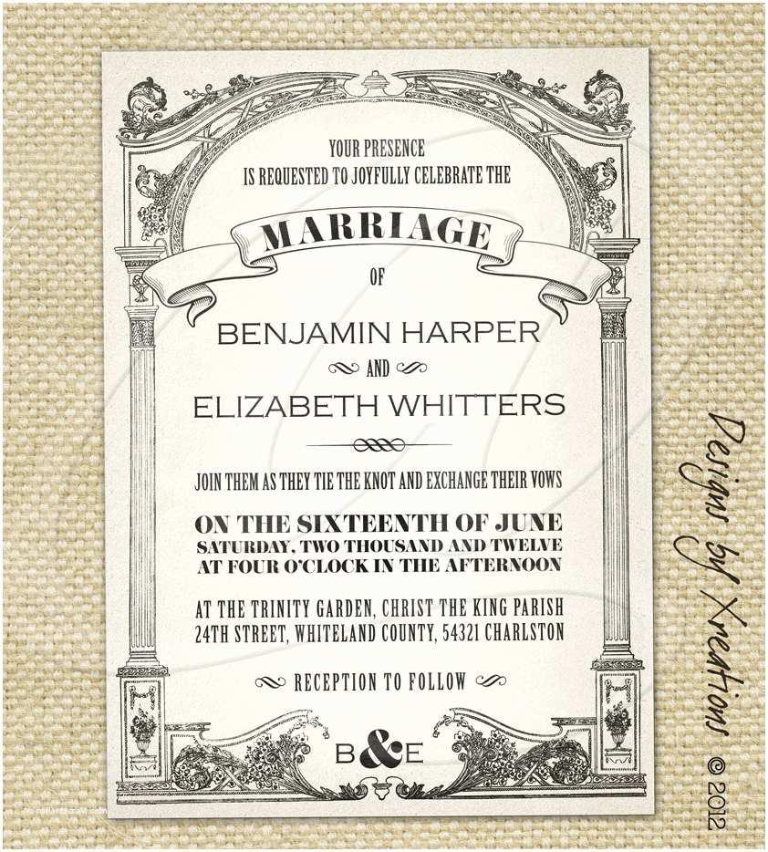 Antique Wedding Invitations Vintage Wedding Invitation Templates