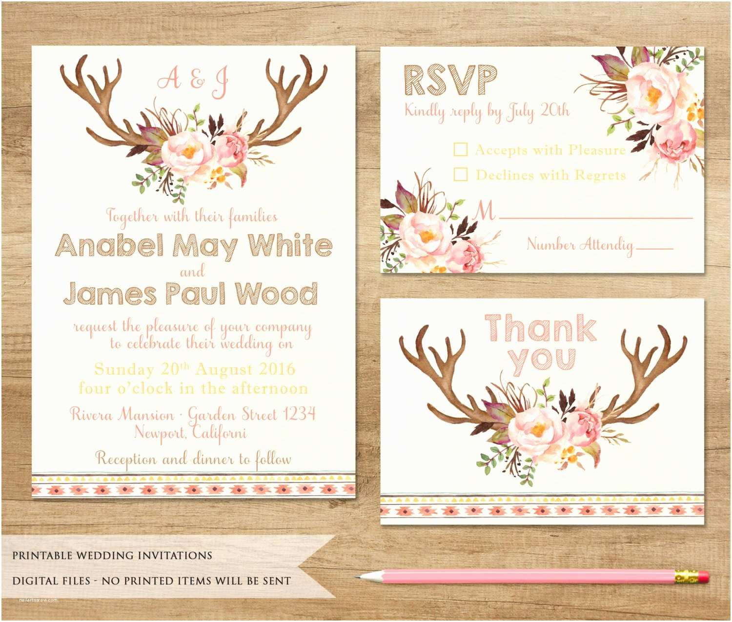 Antler Wedding Invitations Antler and Flowers Wedding Invitation Printable Wedding