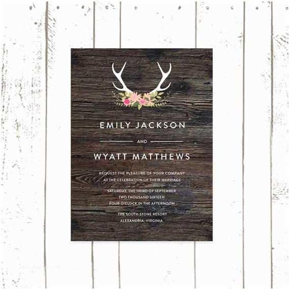Antler Wedding Invitations Antler Wedding Invitation Rustic Wood Print by