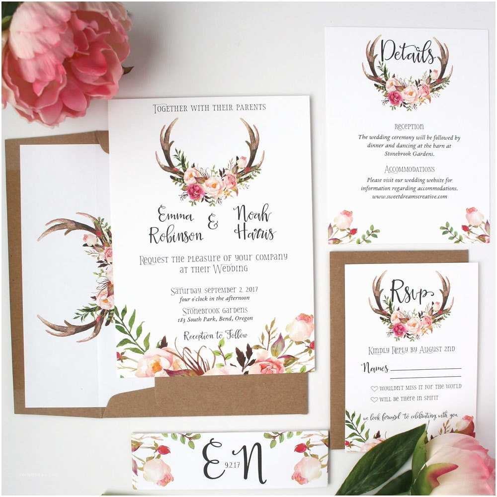 Antler Wedding Invitations Antler Wedding Invitations Blush Pink Wedding Invitations