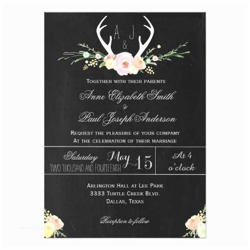 Antler Wedding Invitations Antlers Floral Chalkboard Wedding Invitation